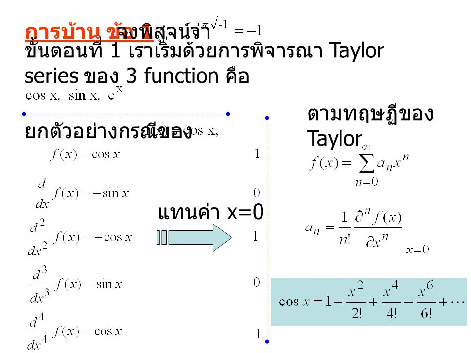 การบ้าน ข้อ 1 จงพิสูจน์ว่า. ขั้นตอนที่ 1 เราเริ่มด้วยการพิจารณา Taylor series ของ 3 function คือ. ตามทฤษฏีของ Taylor.