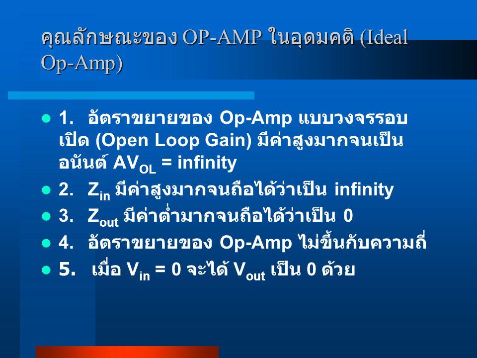 คุณลักษณะของ OP-AMP ในอุดมคติ (Ideal Op-Amp)
