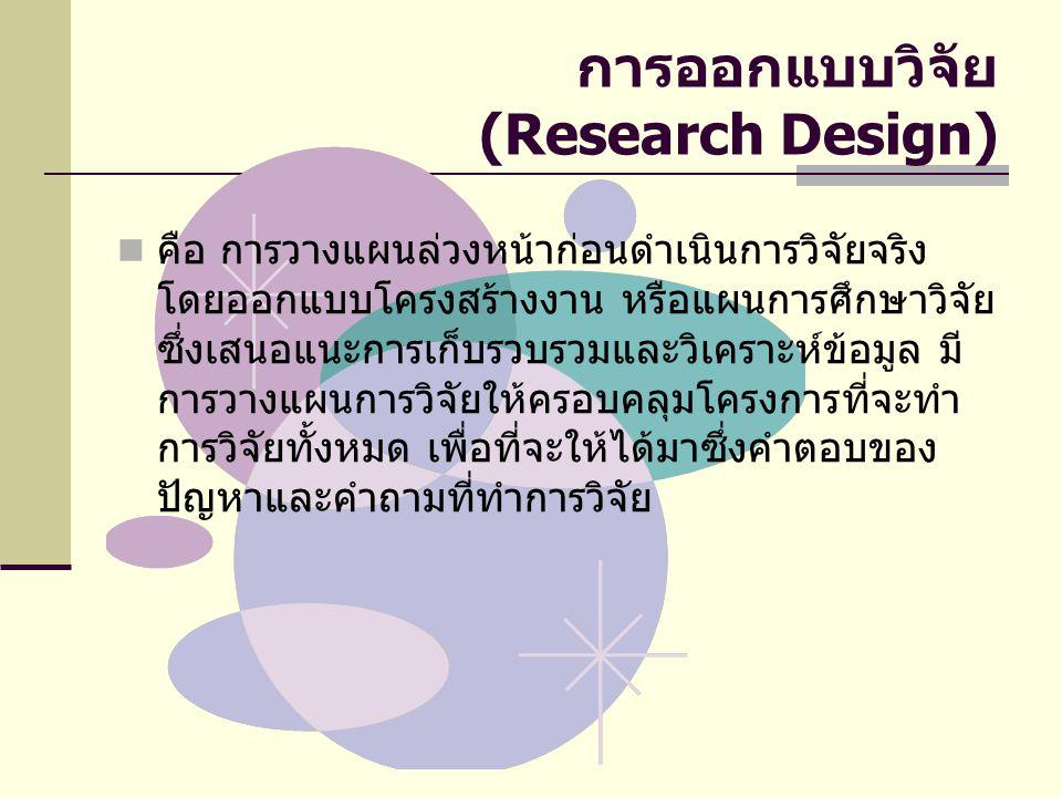 การออกแบบวิจัย (Research Design)