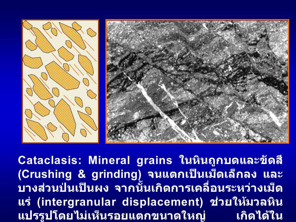 Cataclasis: Mineral grains ในหินถูกบดและขัดสี (Crushing & grinding) จนแตกเป็นเม็ดเล็กลง และบางส่วนป่นเป็นผง จากนั้นเกิดการเคลื่อนระหว่างเม็ดแร่ (intergranular displacement) ช่วยให้มวลหินแปรรูปโดยไม่เห็นรอยแตกขนาดใหญ่ เกิดได้ในสภาวะที่มี confining pressure สูงแต่ temperature ต่ำ