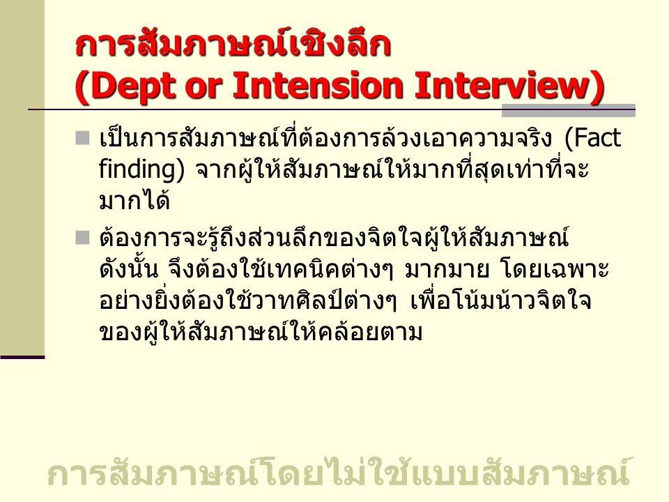 การสัมภาษณ์เชิงลึก (Dept or Intension Interview)