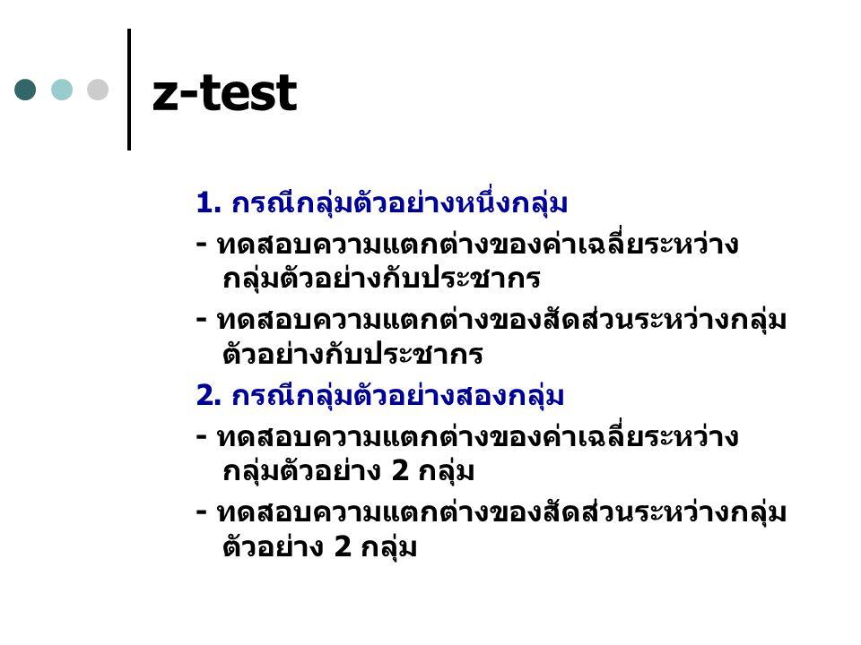 z-test 1. กรณีกลุ่มตัวอย่างหนึ่งกลุ่ม