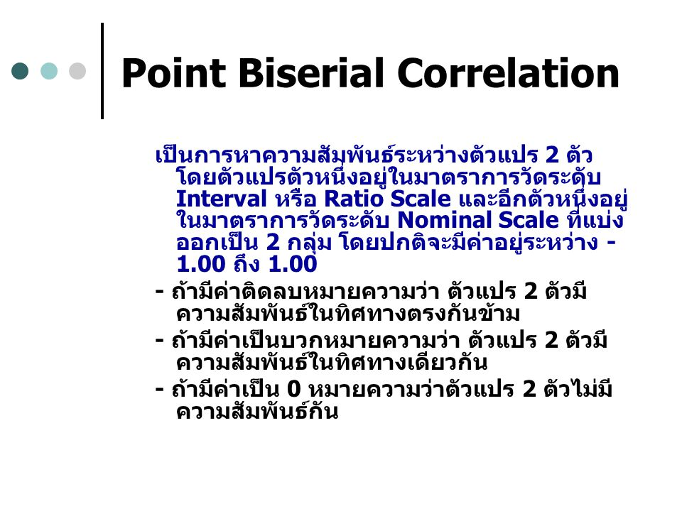 Point Biserial Correlation