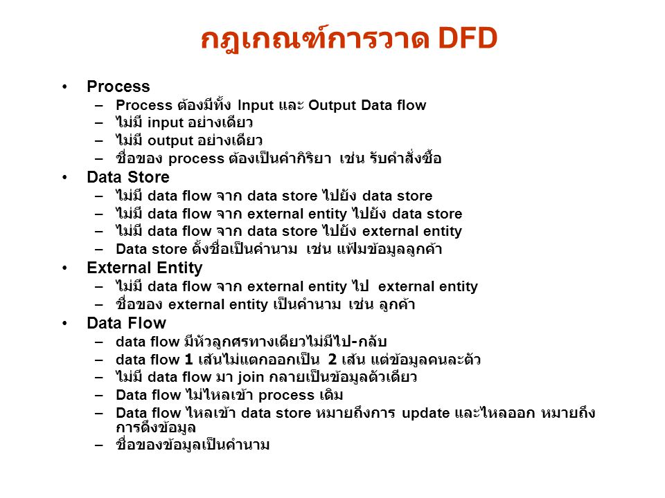 กฎเกณฑ์การวาด DFD Process Data Store External Entity Data Flow