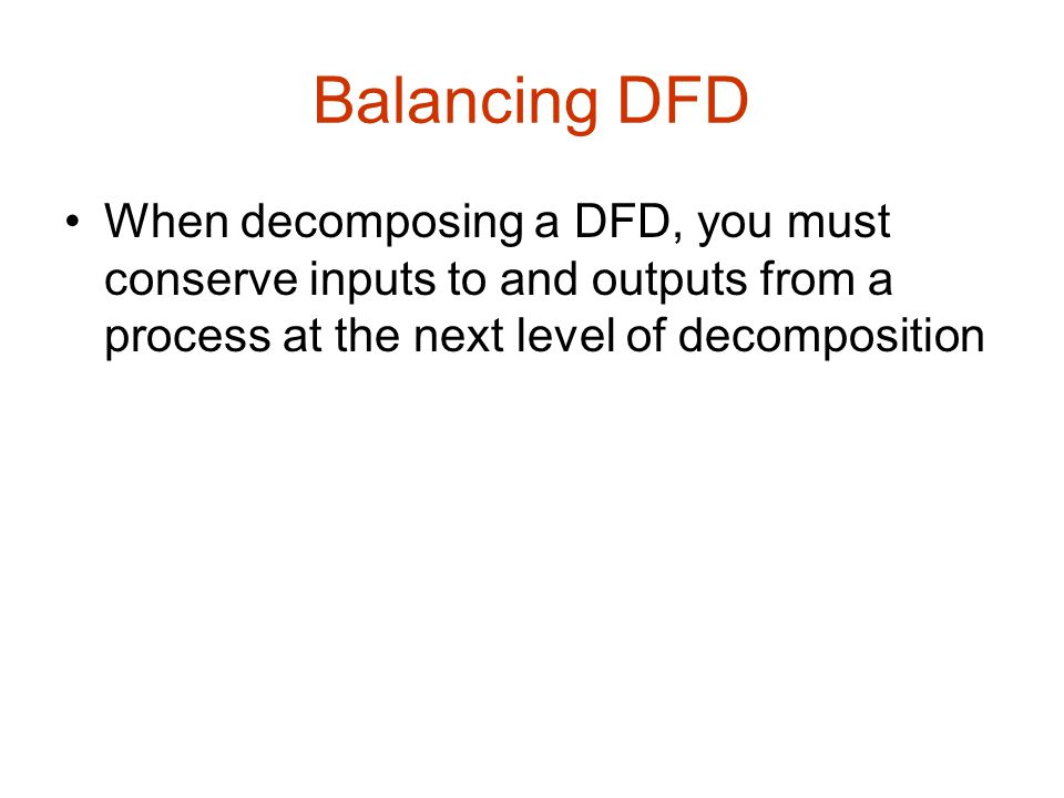 Balancing DFD When decomposing a DFD, you must conserve inputs to and outputs from a process at the next level of decomposition.