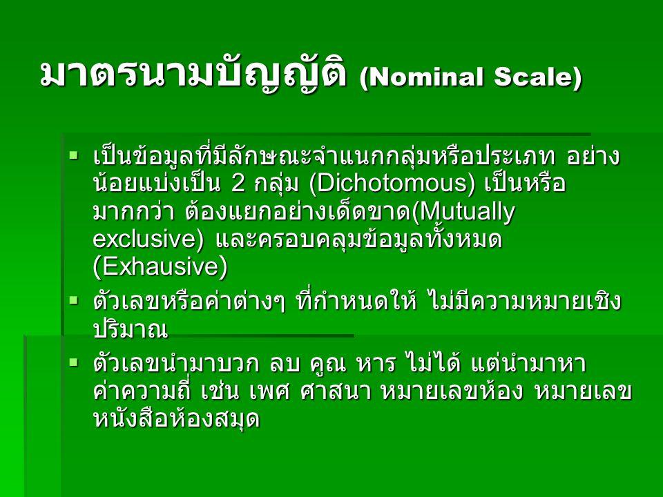 มาตรนามบัญญัติ (Nominal Scale)