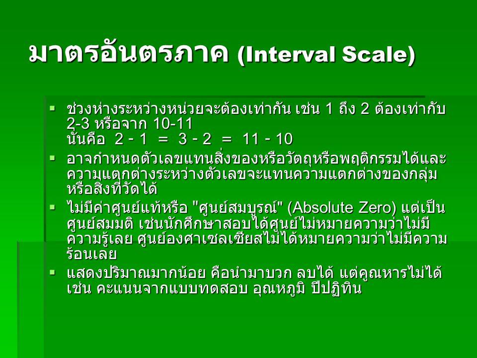 มาตรอันตรภาค (Interval Scale)