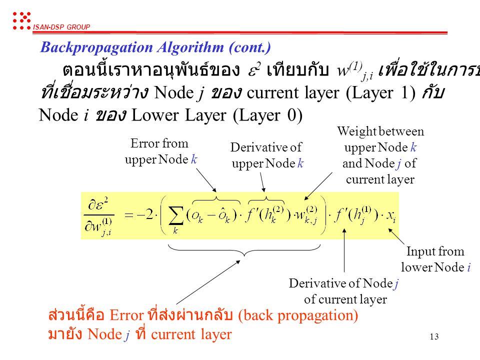 ตอนนี้เราหาอนุพันธ์ของ e2 เทียบกับ w(1)j,i เพื่อใช้ในการปรับ weight
