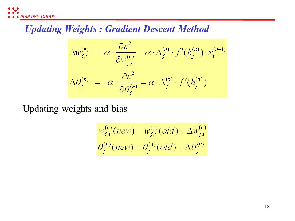 Updating Weights : Gradient Descent Method