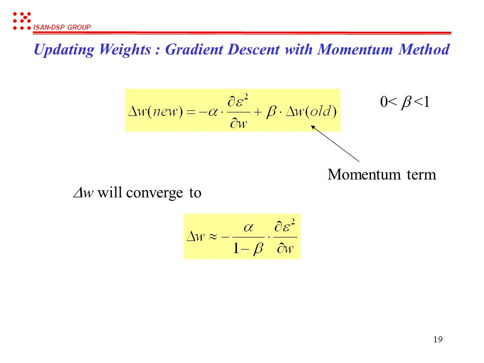 Updating Weights : Gradient Descent with Momentum Method