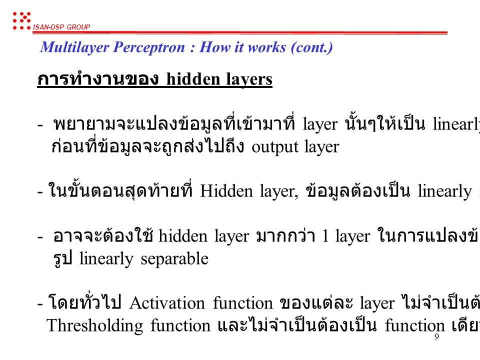 การทำงานของ hidden layers