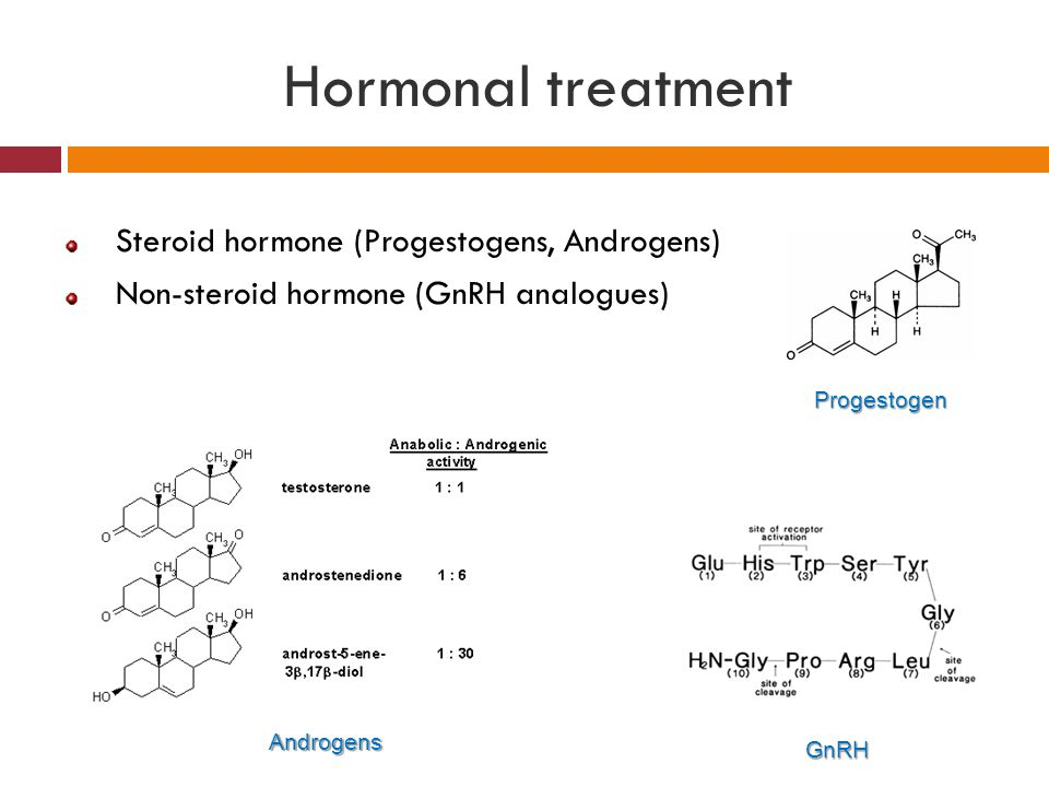 Hormonal treatment Steroid hormone (Progestogens, Androgens)