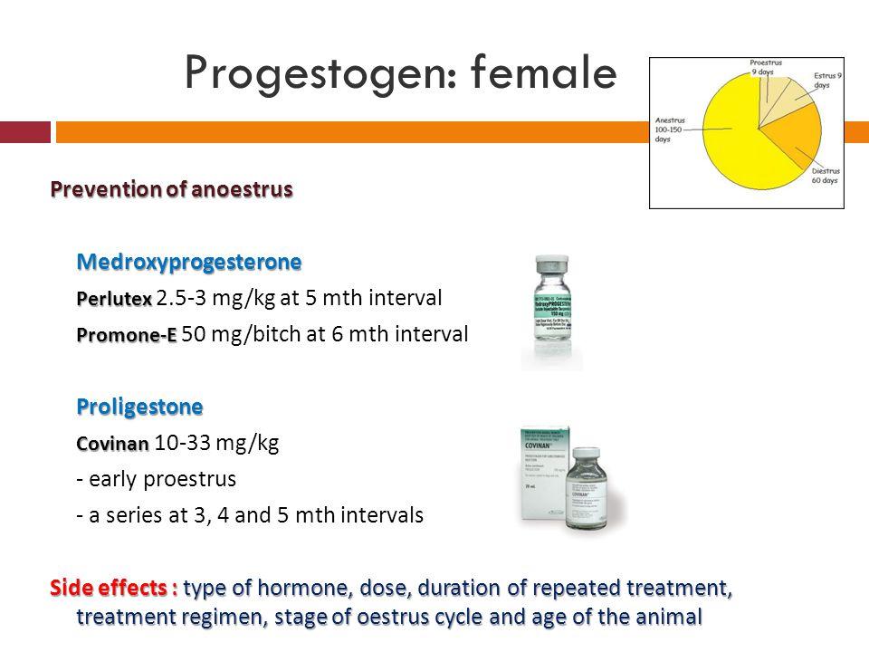 Progestogen: female Prevention of anoestrus Medroxyprogesterone