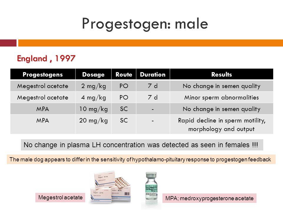 Progestogen: male England , 1997 Progestogens Dosage Route Duration