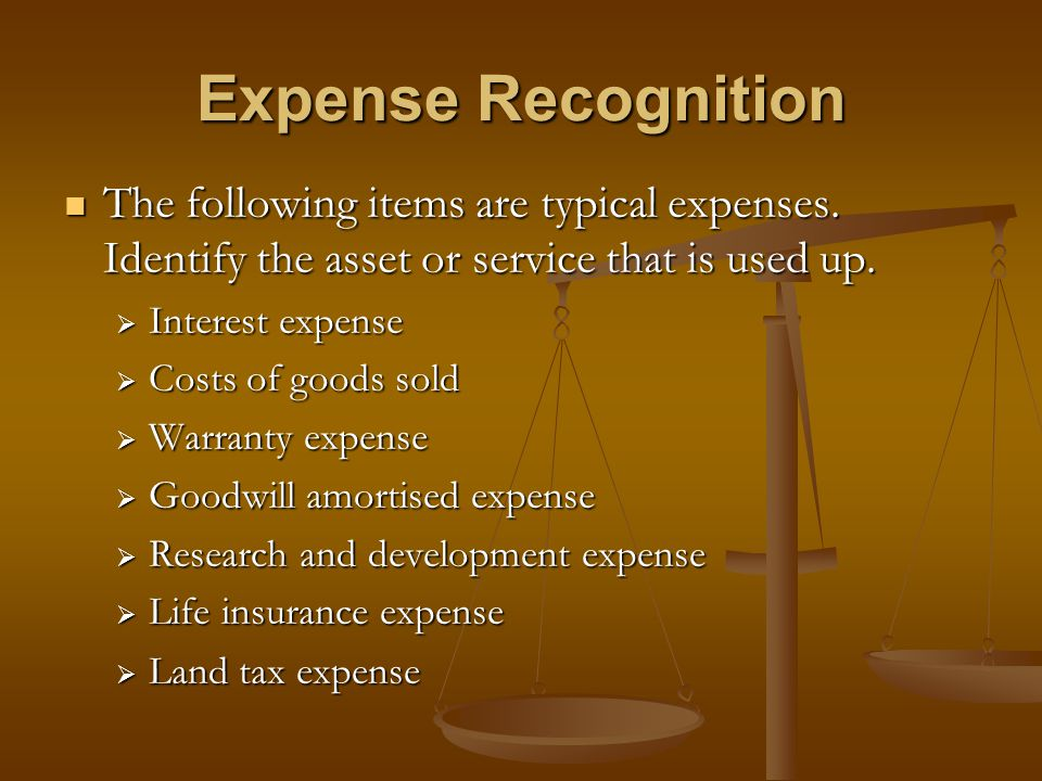 Expense Recognition The following items are typical expenses. Identify the asset or service that is used up.