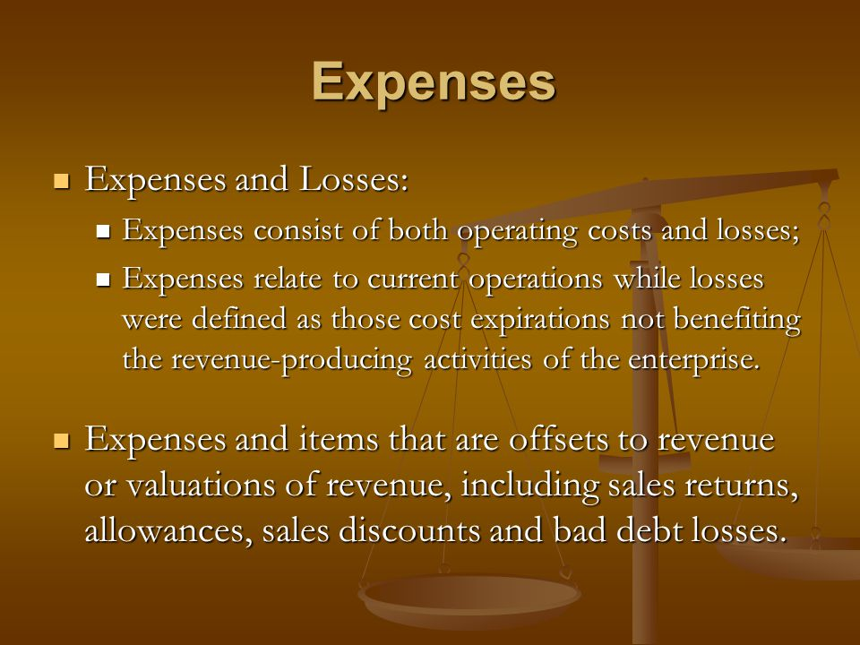 Expenses Expenses and Losses: