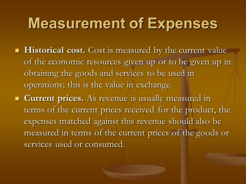 Measurement of Expenses