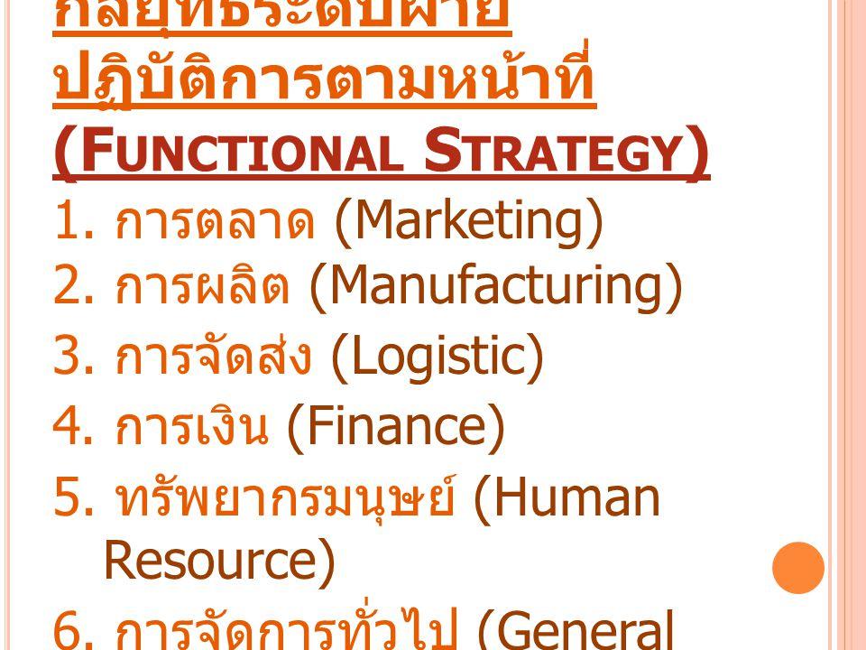 กลยุทธ์ระดับฝ่ายปฏิบัติการตามหน้าที่ (Functional Strategy)