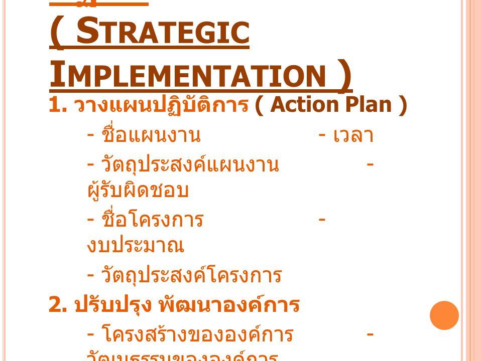 การนำกลยุทธ์ไปสู่การปฏิบัติ ( Strategic Implementation )
