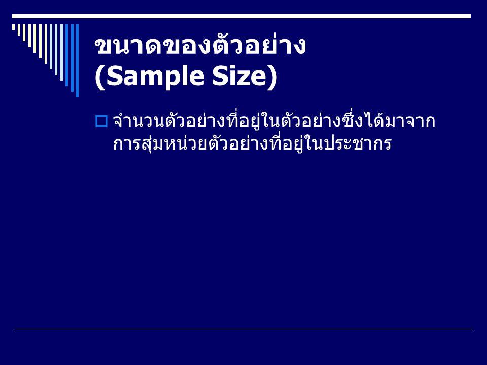 ขนาดของตัวอย่าง (Sample Size)