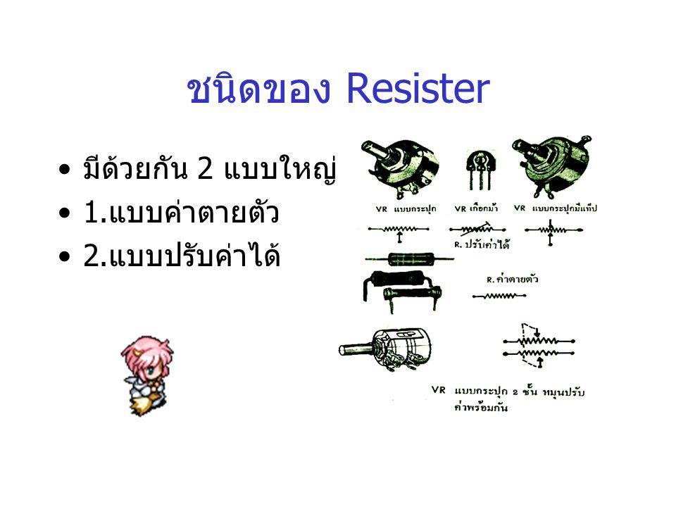 ชนิดของ Resister มีด้วยกัน 2 แบบใหญ่ คือ 1.แบบค่าตายตัว