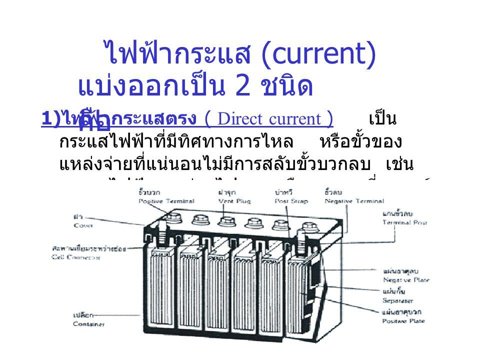 ไฟฟ้ากระแส (current) แบ่งออกเป็น 2 ชนิด คือ