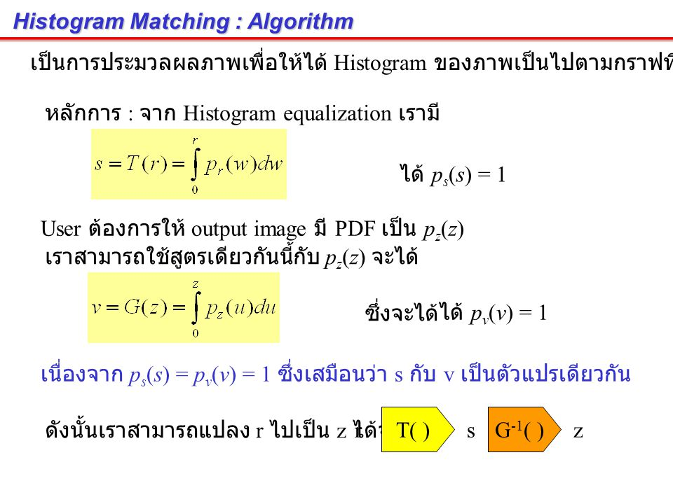 Histogram Matching : Algorithm