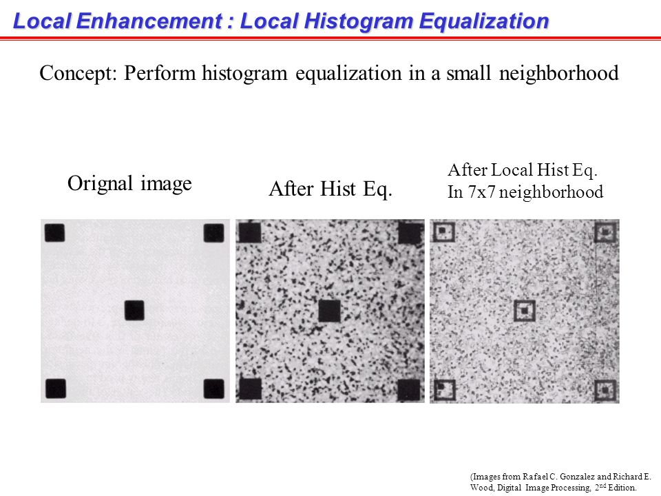 Local Enhancement : Local Histogram Equalization