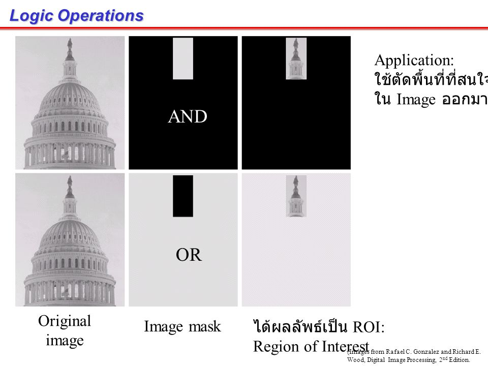 AND OR Logic Operations Application: ใช้ตัดพื้นที่ที่สนใจ