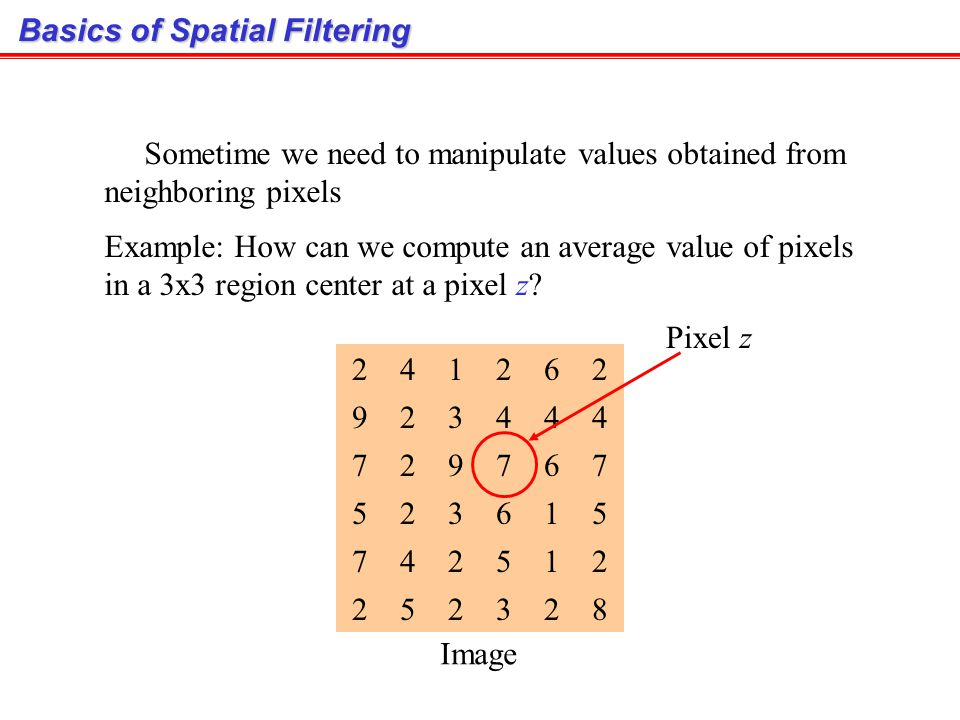 Basics of Spatial Filtering