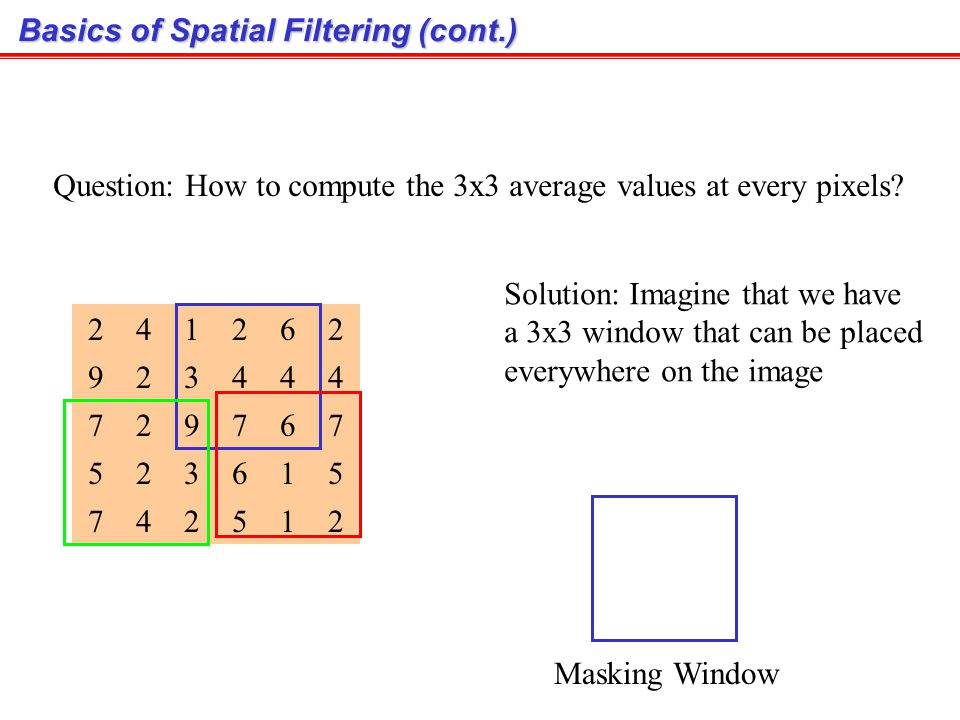 Basics of Spatial Filtering (cont.)