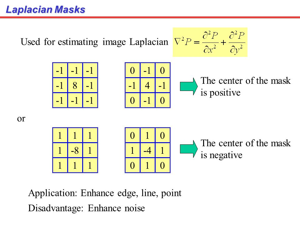 Laplacian Masks Used for estimating image Laplacian. -1. 8. -1. 4. The center of the mask. is positive.