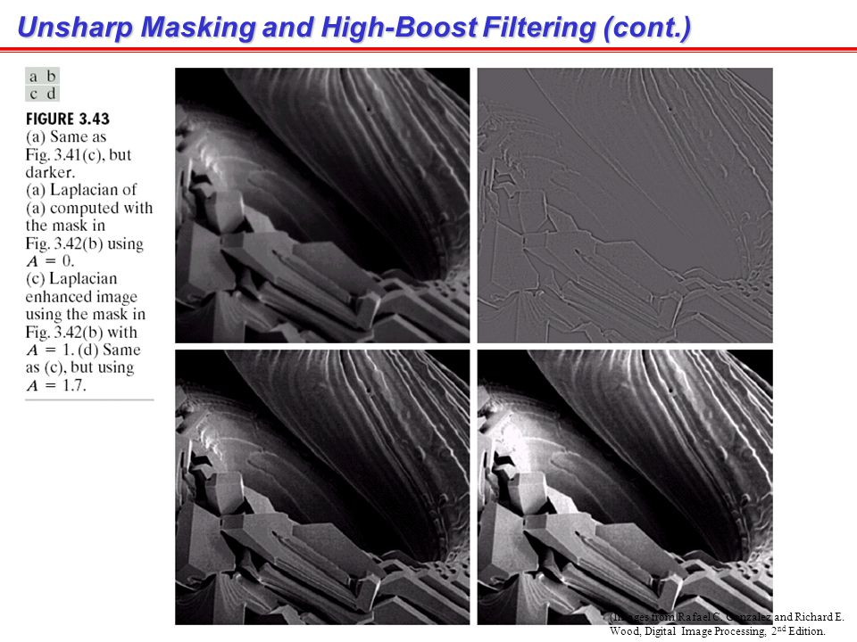 Unsharp Masking and High-Boost Filtering (cont.)