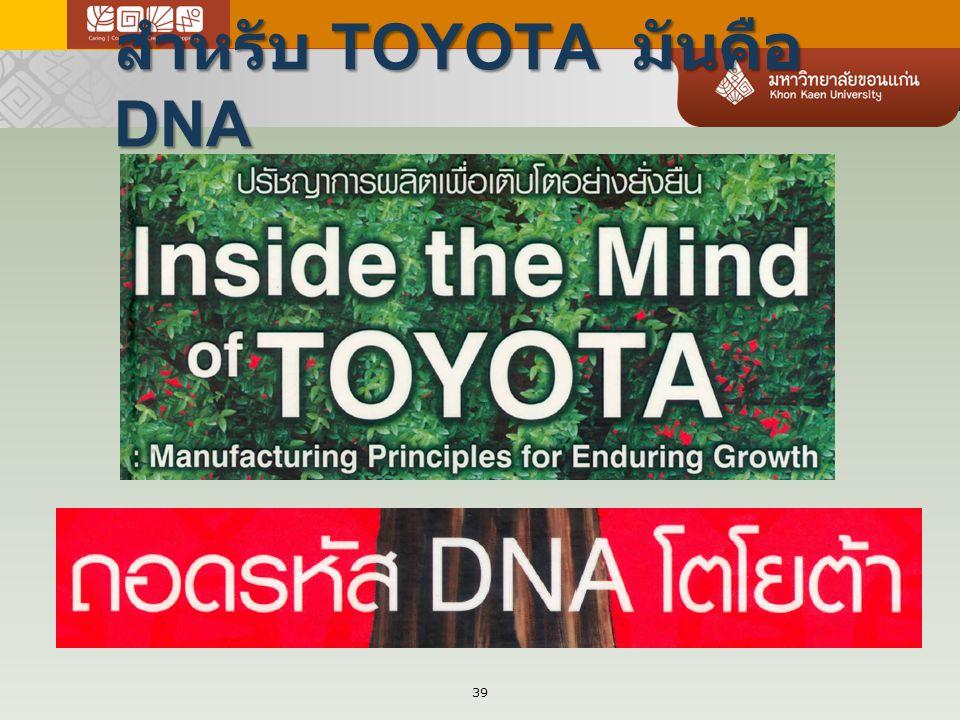 สำหรับ TOYOTA มันคือ DNA