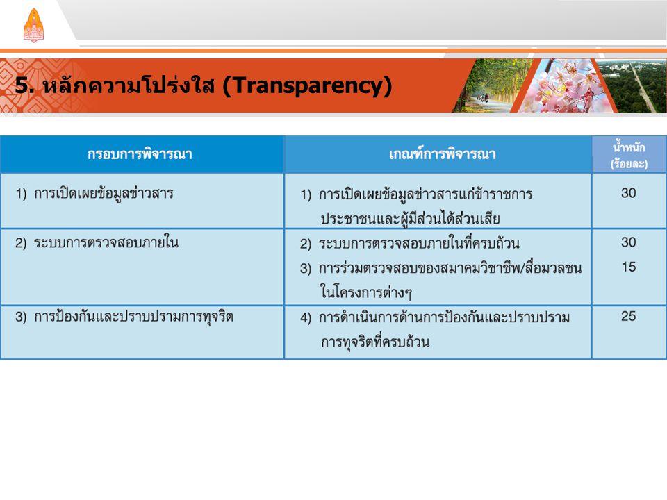 5. หลักความโปร่งใส (Transparency)