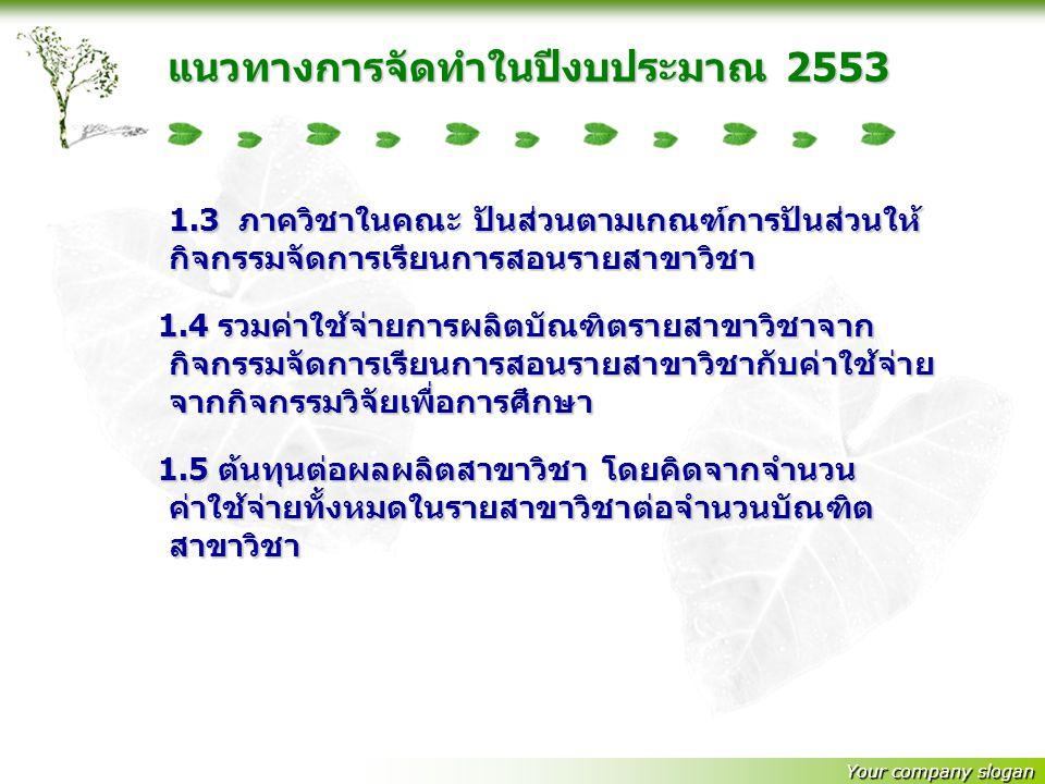 แนวทางการจัดทำในปีงบประมาณ 2553