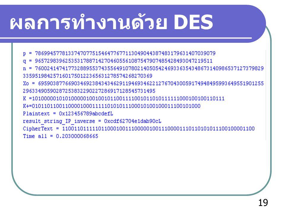 ผลการทำงานด้วย DES