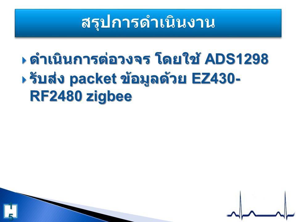 สรุปการดำเนินงาน ดำเนินการต่อวงจร โดยใช้ ADS1298