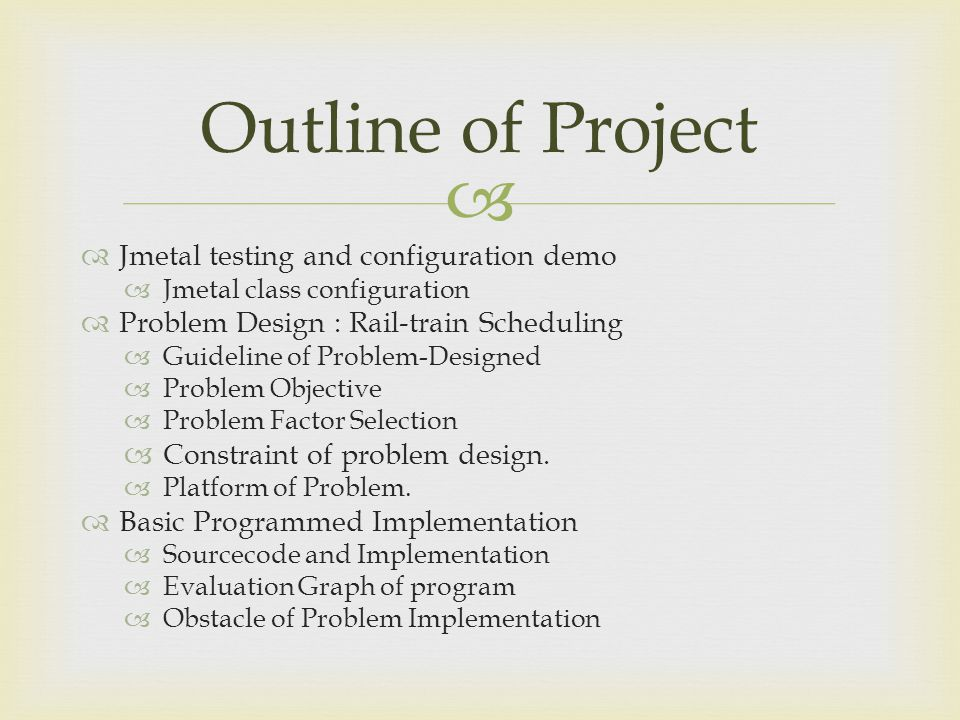 Outline of Project Jmetal testing and configuration demo