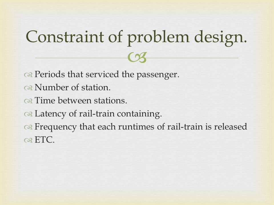 Constraint of problem design.