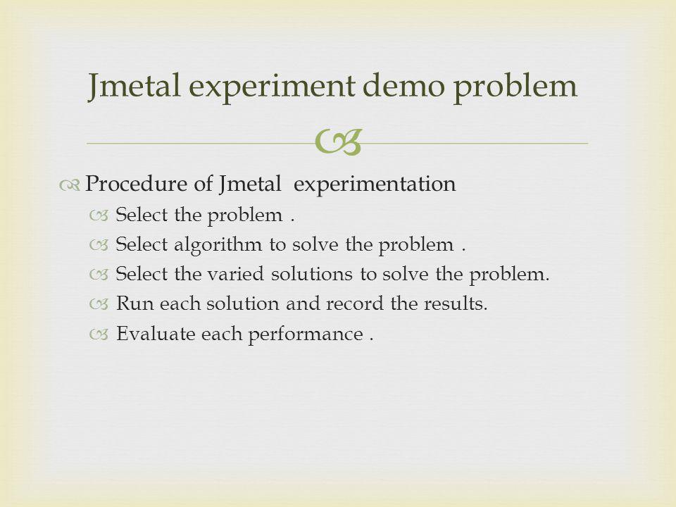 Jmetal experiment demo problem