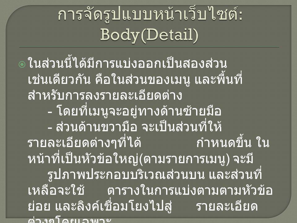 การจัดรูปแบบหน้าเว็บไซต์: Body(Detail)