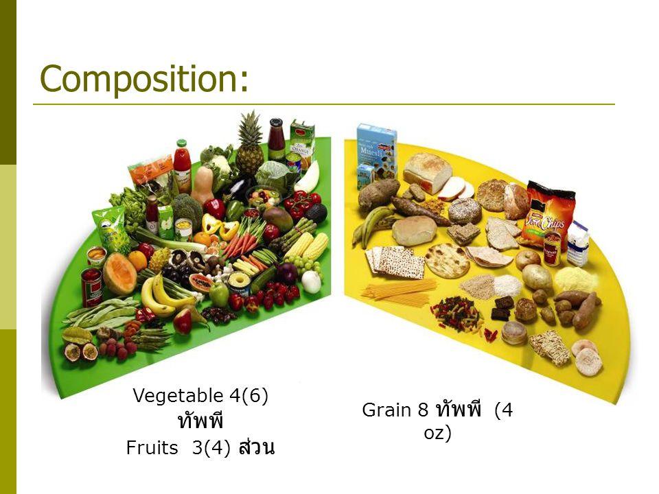 Composition: Vegetable 4(6) ทัพพี Grain 8 ทัพพี (4 oz)