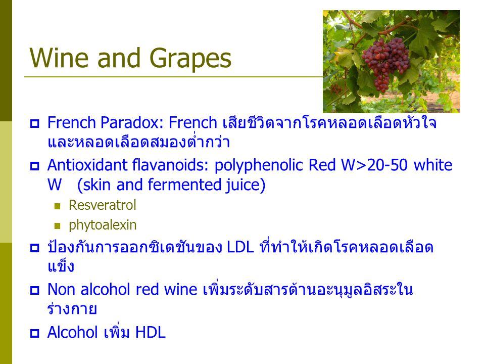 Wine and Grapes French Paradox: French เสียชีวิตจากโรคหลอดเลือดหัวใจ และหลอดเลือดสมองต่ำกว่า.