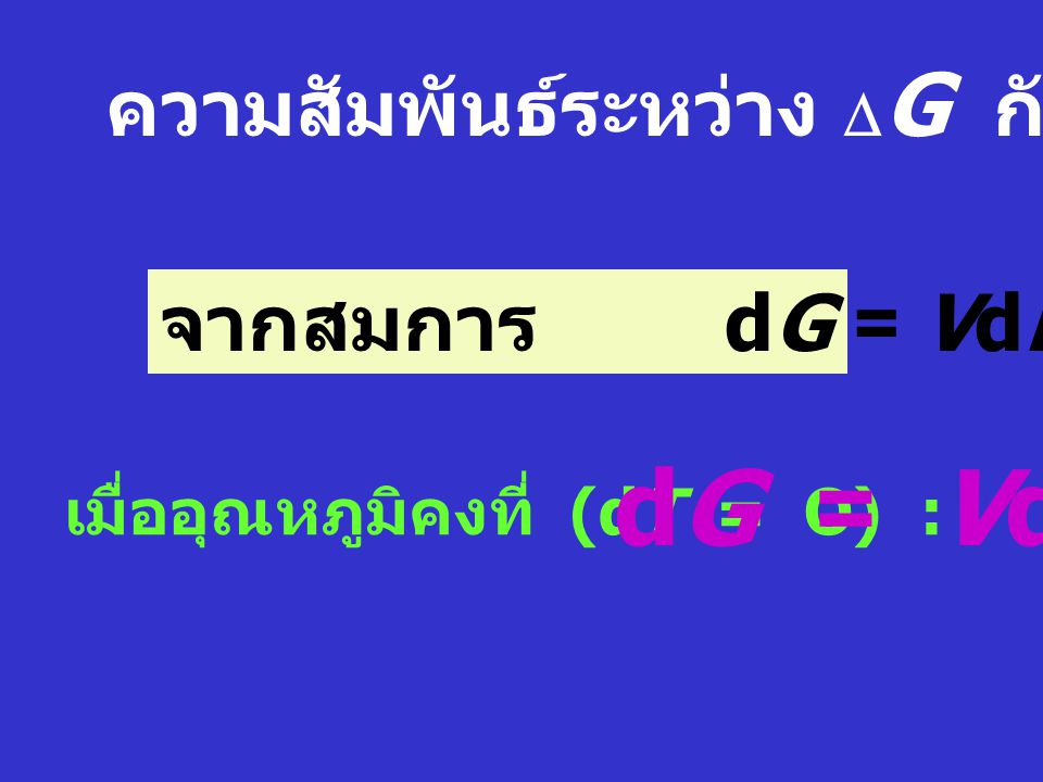 dG = VdP ความสัมพันธ์ระหว่าง DG กับความดัน จากสมการ dG = VdP - SdT