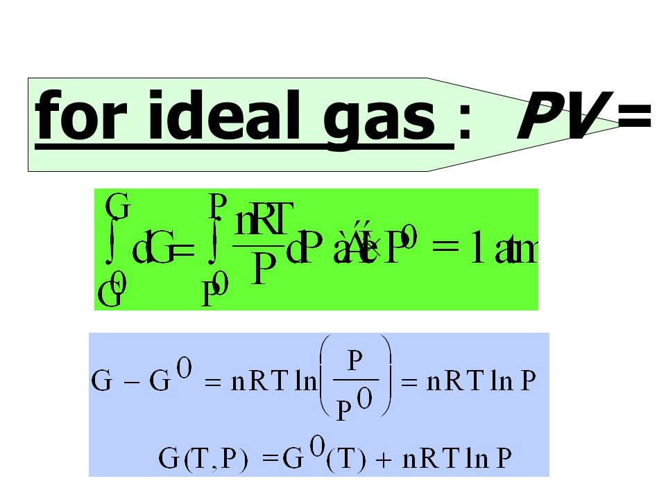 for ideal gas : PV = nRT