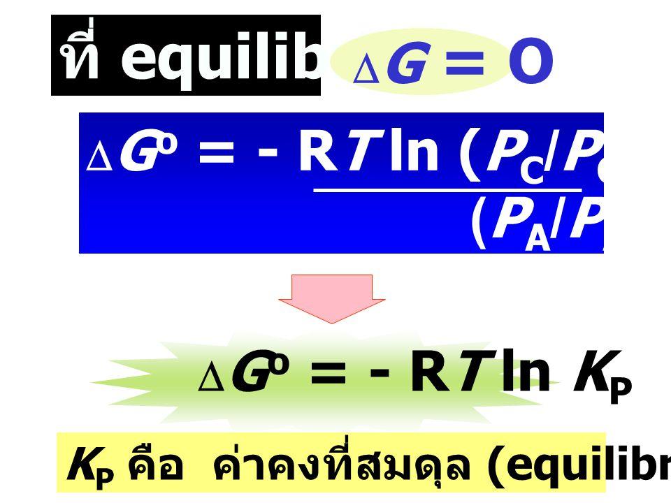 ที่ equilibrium: (PA/PAo)a(PB/PBo)b DG = O