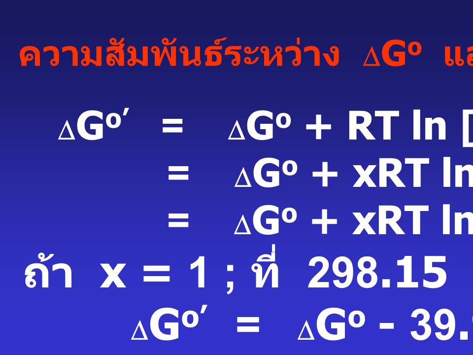 ถ้า x = 1 ; ที่ 298.15 K จะได้ DGo' = DGo - 39.95 kJ