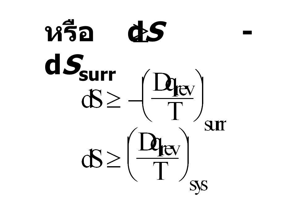 หรือ dS - dSsurr