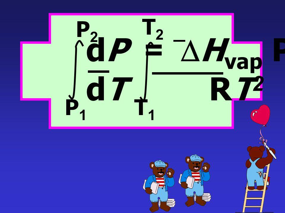 dP = DHvap P dT RT2 P1 P2 T1 T2